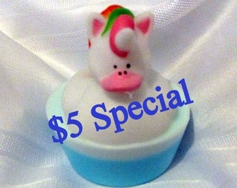 5 Dollar Special Unicorn Rubber Ducky Soap (handmade, gentle soap, clean fun, toy, gift soap, unicorn toy) Stardust Soaps