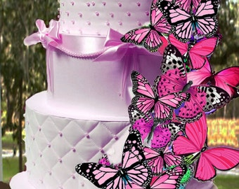 Edible PINK Butterflies, Wafer Cake Decorations ,cupcake toppers,cookie toppers,birthday,cake decoration, Quantity 18