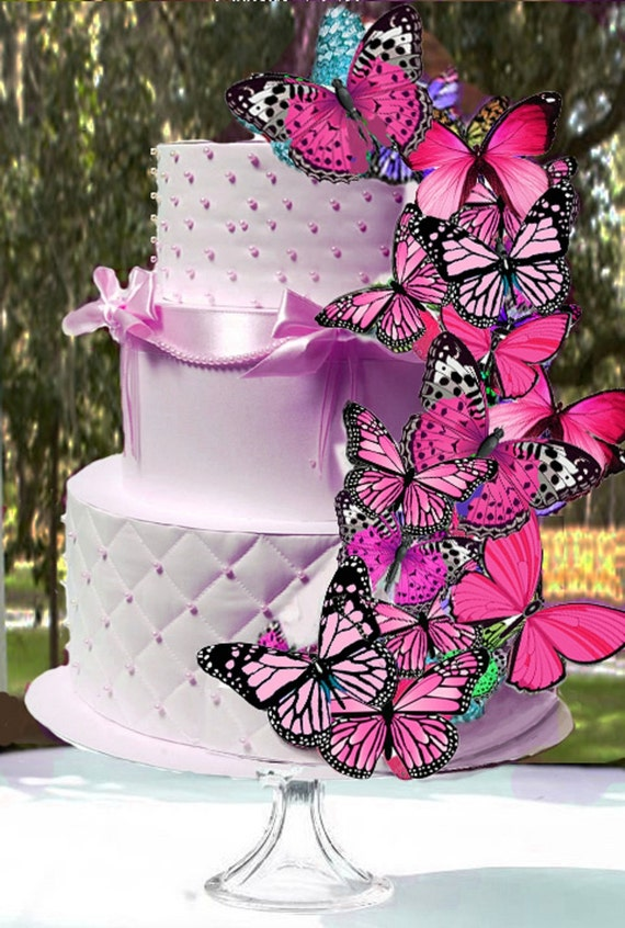 Butterfly Wafers Cake Decoration : Edible PINK Butterflies Wafer Cake Decorations cupcake