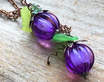 Purple Lucite Pumpkin Beads, Green Leaves, Copper Chain Pumpkin Necklace