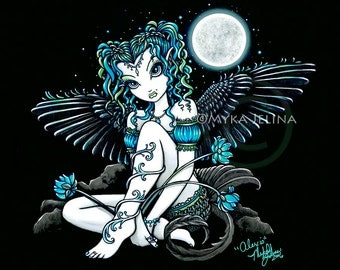 Gothic Fairy Angel Water Lily Moon Alexis Signed Art Print by Myka Jelina