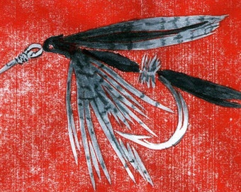 "An ACEO reproduction  of my original enhanced lino print of a ""Black Gnat"" wet fly."