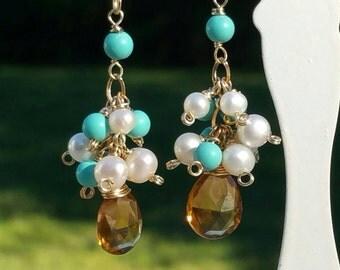 Boho Cluster Earrings, Brown n Turquoise Earrings, Pearls, Gold Dangle Earrings, AAA Topaz, Freshwater Pearls, Long by Maggie McMane Designs