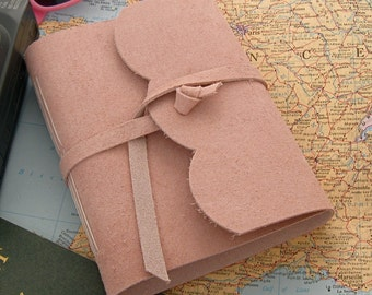 Pink Suede Valentine's Journal Handmade Leather Journal Pink Sketchbook Unlined Travel Diary Pink Leather Journal 3rd Anniversary Gift