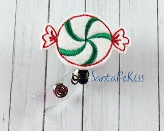 Christmas Candy Felt Badge Reel. A great gift for yourself or for your favorite nurse, teacher, coworker