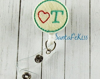 Occupational Therapist ID Badge - Embroidered Felt OT Badge Reel - Retractable OT Id Badge Holder - Badge Reel Clip - Medical Badge Reel