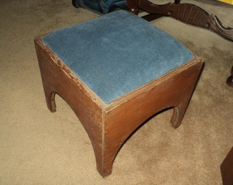 Primitive Homemade Blue Upholstered Foot Stool