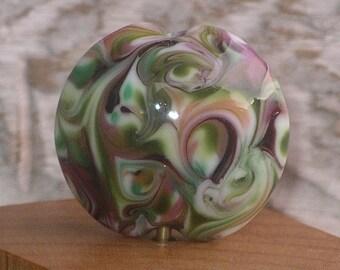 Handmade Glass Lampwork Lentil Focal Bead - Japanese Garden