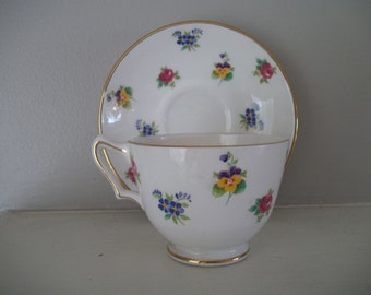 Crown Staffordshire Bone China Cup & Saucer Multicolored Floral Pansies, Violets, Roses, Made in England