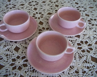 Brusche Cup and Saucer Set of 3 Bauer Pottery