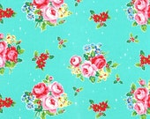 Aqua Christmas Floral Holly Berry 31327 70 Fabric by Lecien Flower Sugar Holiday
