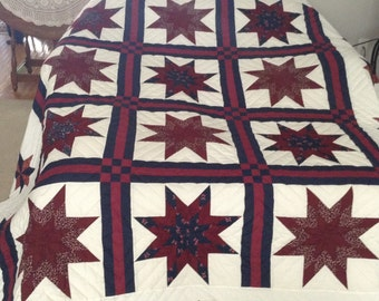 Queen size - Hand made - Star within the Star Quilt