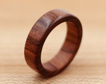 Bolivian Rosewood Ring - Custom Wood Ring - Unique Wedding Ring - Wedding Ring - Wooden Ring - Mens Jewelry - 5 Year Anniversary