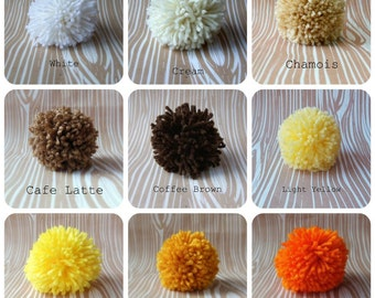 Set of 6 Yarn Pom Poms - Extra Large - 4.5 inch