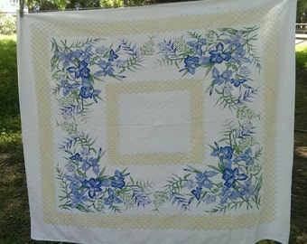 Vintage Blue and White and Yellow Iris Table Cloth Or Picnic Cloth