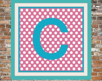 Polka Dot Personalized Monogram - a Counted Cross Stitch Pattern