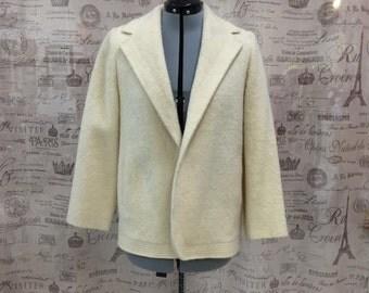 Vintage Cream Wool Coat Jacket or Peacoat  Sz S M