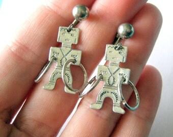 Sterling Silver Fred Harvey Men Earrings Screw Backs