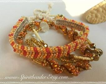 Triple Autumn Pumpkin Tangerine Bohemian Golden Starfish Beach Bracelet Set of Three