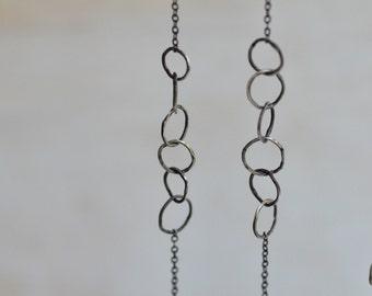 Long Sterling Silver Link Earrings - Minimalist Bohemian Earrings