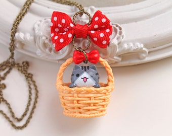 Kawaii grey  cat in a basket Necklace with red bow lolita kitsch