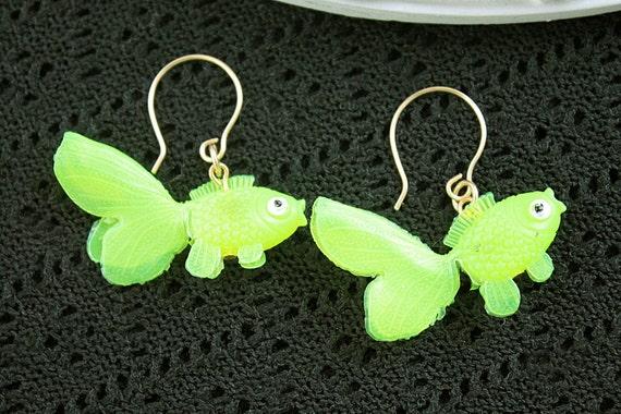 Dangling goldfish  earrings cute kawaii kitsch lolita yellow fish
