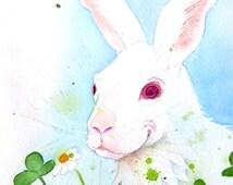 A Bunny Rabbit Original Painting Watercolor Pet rabbit painting Farm animal animal artwork Wild Life art woodlands painting Spring painting