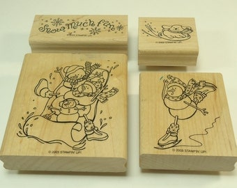 Snow Play Wood Mounted Rubber Stamp Set From Stampin Up 100341Snow, Winter, Snowman, Snowmen
