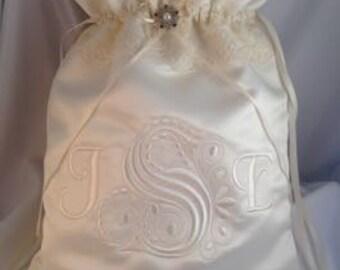 Custom Monogram Satin and Lace Wedding Money Bag
