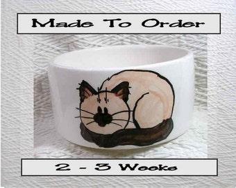Medium Cat Bowl Siamese Or Himalayan Cat and Paw Prints Inside 20 Oz. Ceramic