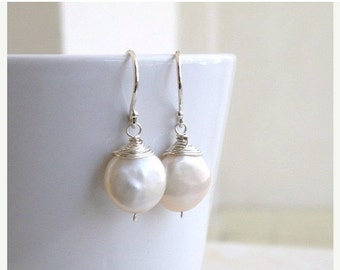 Clearance SALE Coin Pearl Wire Wrapped Silver Dangle Earrings GE5B