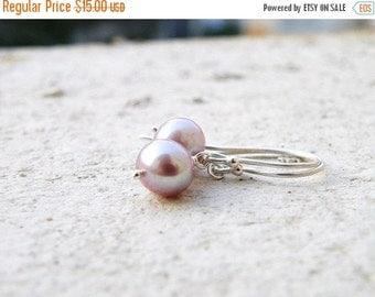 27% Off Sale Mauve Pearl Sterling Silver Earrings PE7 Wedding Jewelry