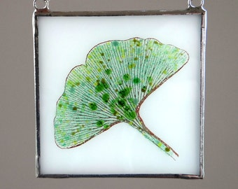 Ginkgo Leaf Fused Glass Suncatcher Light Catcher Green