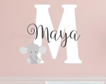 Elephant Name  Nursery Decor - Wall Decal Name and Initial • Elephant Wall Decal • Monogram Wall Decal • Baby Nursery bedroom boy girl