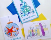 Australian Christmas Cards - 6 pack, you choose - summer beach starfish christmas tree - A6 watercolour print