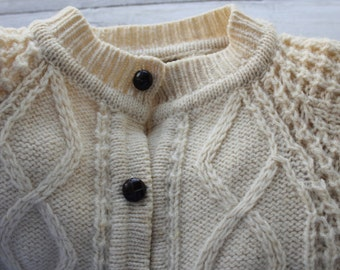 Vintage  Irish Cardigan, Wool Fisherman Sweater, Cream Color, Gift for Her, Women Sweater, Winter White Sweater, Town and Country Style