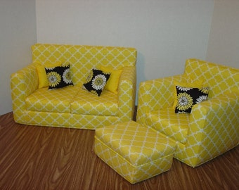 Christmas Sale......10% off-----  18 Inch Doll Sofa, Chair, and Ottoman,Yellow, Handmade Doll Furniture