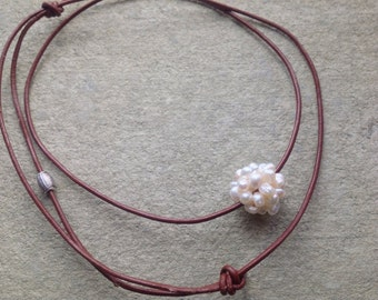 Freshwater Floating Pearl Cluster Ball on Leather Necklace