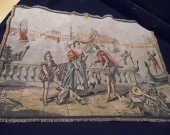 Antique/Vintage 1940's Era Courting Couple Tapestry