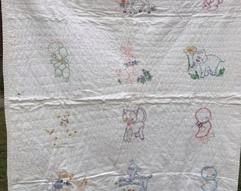 Vintage Hand Embroidery with Animals Baby Quilt