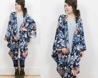 Floral kimono jacket, gypsy kimono, batwing kimono, duster jacket, floral duster, boho kimono, floral kimono, kimono cape, hippie kimono