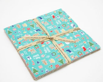 "SALE 10"" inch squares COZY CHRISTMAS charm pack fabric by Riley Blake by Lori Holt, layer cake"