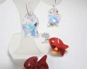 925 stamped Sterling Silver Dangle Swarovski Crystal Fish Earrings