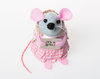 It's a Girl Mouse - collectable art rat artists mice felt mouse cute soft sculpture toy stuffed plush doll gift for new parents baby girl
