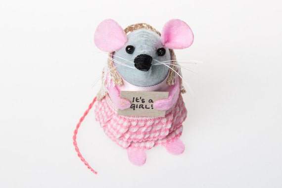 It's a Girl mouse ornament cute felt hamster rat mice gift for new parents celebrate the birth of a baby adorable felt boy mouse - Jenny