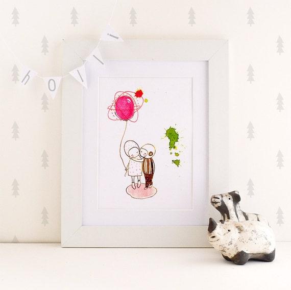 Kiss me - print - 4x6 - Nursery art - Nursery decor - Kids room decor - Children's art - Children's wall art - kids wall art