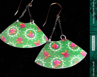 Flowers on Lacy Green—Upcycled Tin Earrings