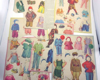 Vintage 1950s Alden Family Boy and Girl Paper Doll 56 Outfits 2 Stuffed Animals
