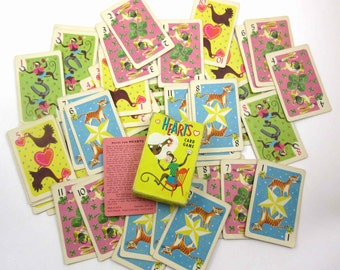 Vintage 1950s Children's Game of Hearts Playing Cards with Animals by Whitman Set of 44