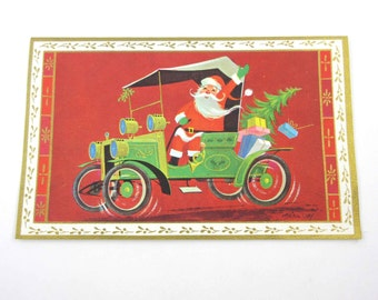 Vintage Unused Mid Century Christmas Card with Santa Claus in an Old Fashioned Green Car with Gifts